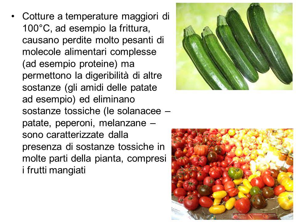 Cotture a temperature maggiori di 100°C, ad esempio la frittura, causano perdite molto pesanti di molecole alimentari complesse (ad esempio proteine)