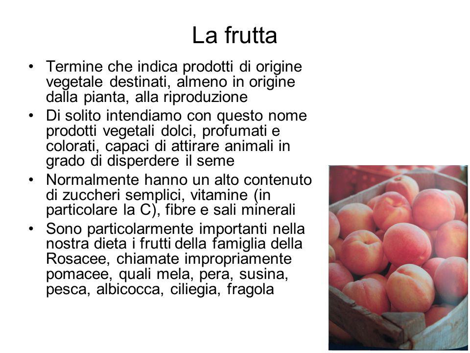 La frutta Termine che indica prodotti di origine vegetale destinati, almeno in origine dalla pianta, alla riproduzione Di solito intendiamo con questo