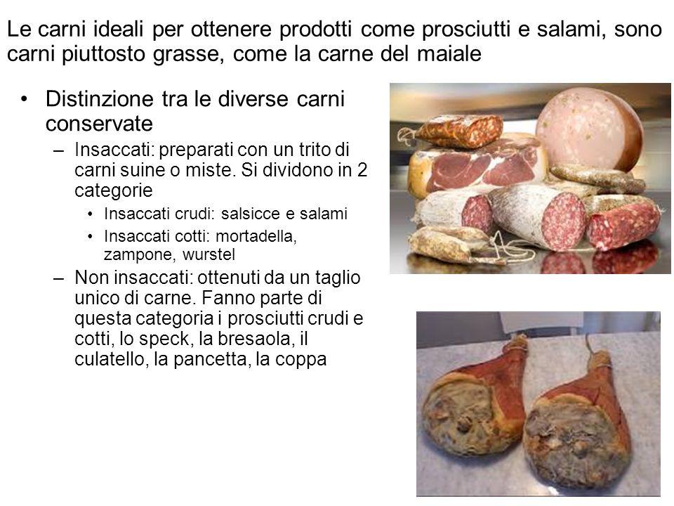 Distinzione tra le diverse carni conservate –Insaccati: preparati con un trito di carni suine o miste. Si dividono in 2 categorie Insaccati crudi: sal