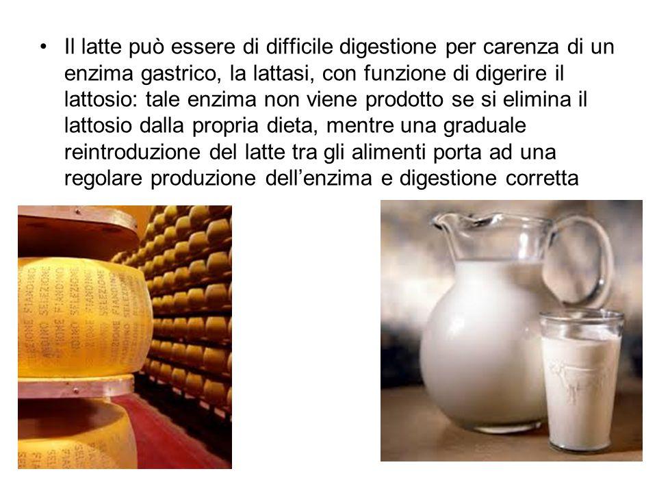 Il latte può essere di difficile digestione per carenza di un enzima gastrico, la lattasi, con funzione di digerire il lattosio: tale enzima non viene