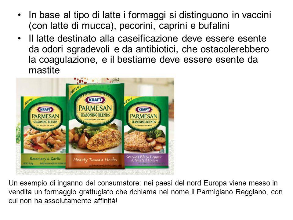 In base al tipo di latte i formaggi si distinguono in vaccini (con latte di mucca), pecorini, caprini e bufalini Il latte destinato alla caseificazion