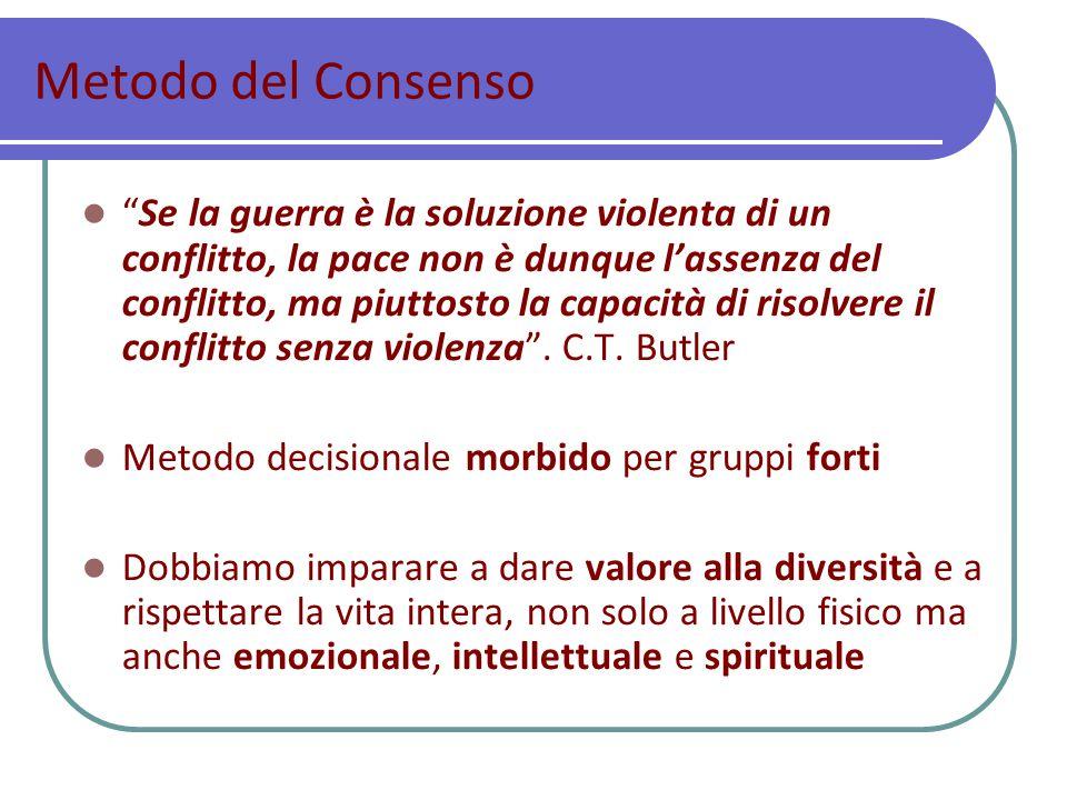 Metodo del Consenso Se la guerra è la soluzione violenta di un conflitto, la pace non è dunque l'assenza del conflitto, ma piuttosto la capacità di risolvere il conflitto senza violenza .