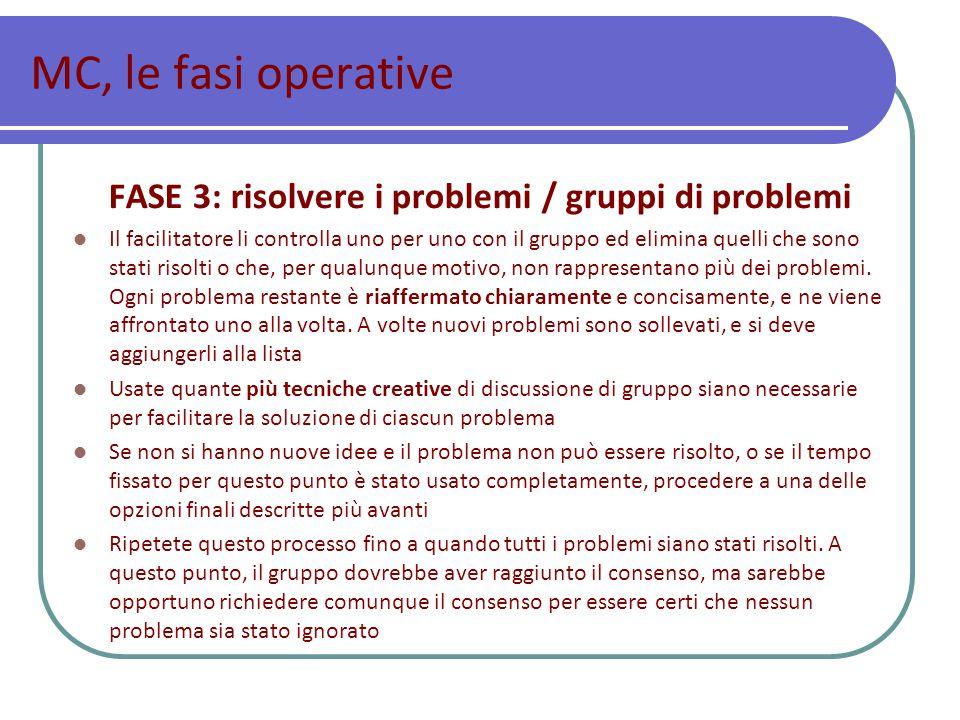 MC, le fasi operative FASE 3: risolvere i problemi / gruppi di problemi Il facilitatore li controlla uno per uno con il gruppo ed elimina quelli che sono stati risolti o che, per qualunque motivo, non rappresentano più dei problemi.