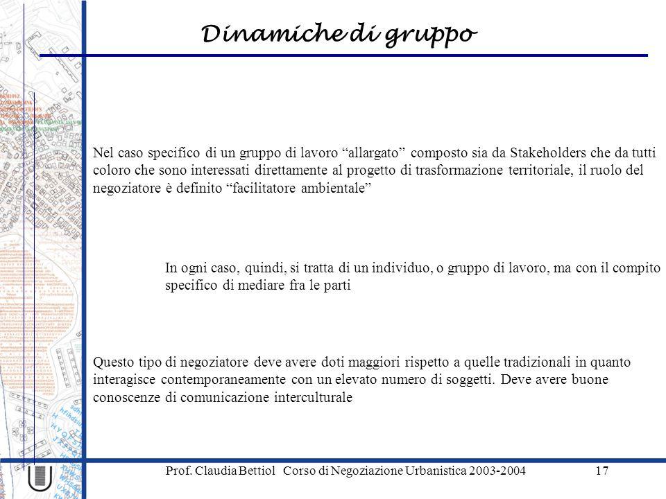 """Dinamiche di gruppo Prof. Claudia Bettiol Corso di Negoziazione Urbanistica 2003-200417 Nel caso specifico di un gruppo di lavoro """"allargato"""" composto"""