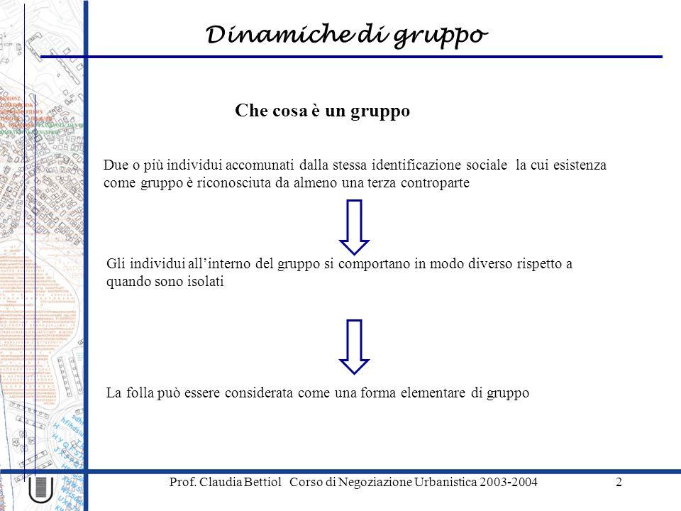 Dinamiche di gruppo Prof. Claudia Bettiol Corso di Negoziazione Urbanistica 2003-20042 Che cosa è un gruppo Due o più individui accomunati dalla stess