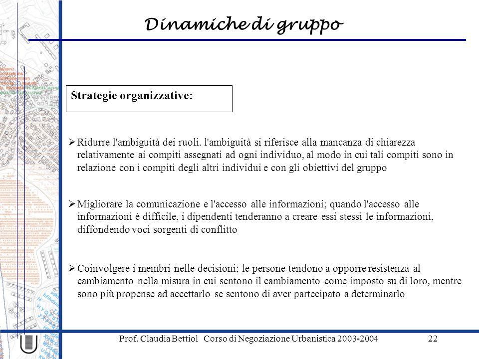 Dinamiche di gruppo Prof. Claudia Bettiol Corso di Negoziazione Urbanistica 2003-200422 Strategie organizzative:  Coinvolgere i membri nelle decision