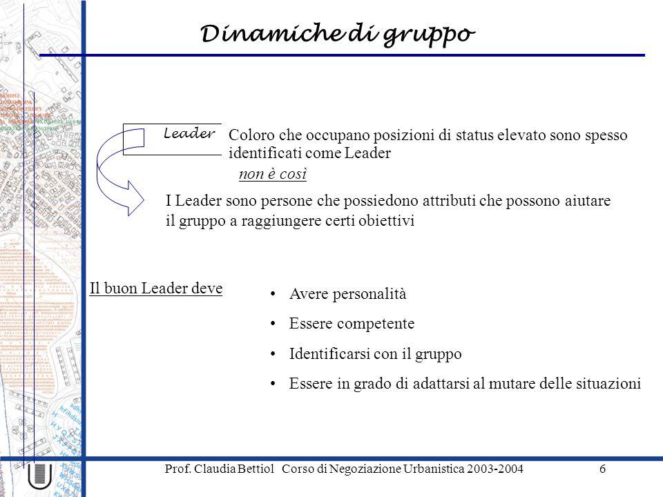 Dinamiche di gruppo Prof. Claudia Bettiol Corso di Negoziazione Urbanistica 2003-20046 Leader Coloro che occupano posizioni di status elevato sono spe