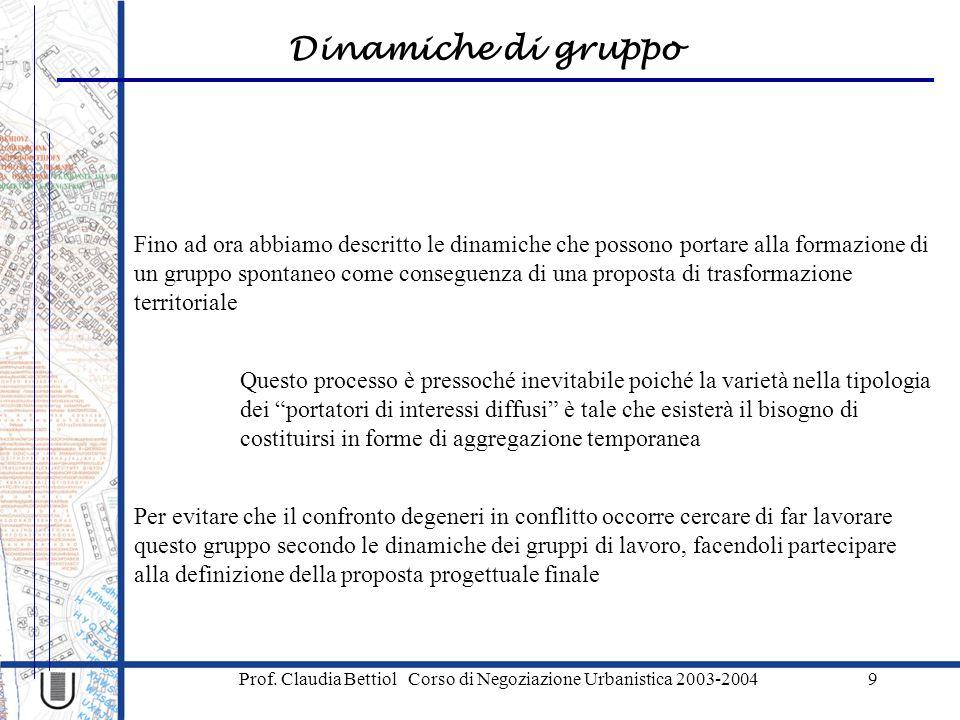 Dinamiche di gruppo Prof. Claudia Bettiol Corso di Negoziazione Urbanistica 2003-20049 Fino ad ora abbiamo descritto le dinamiche che possono portare