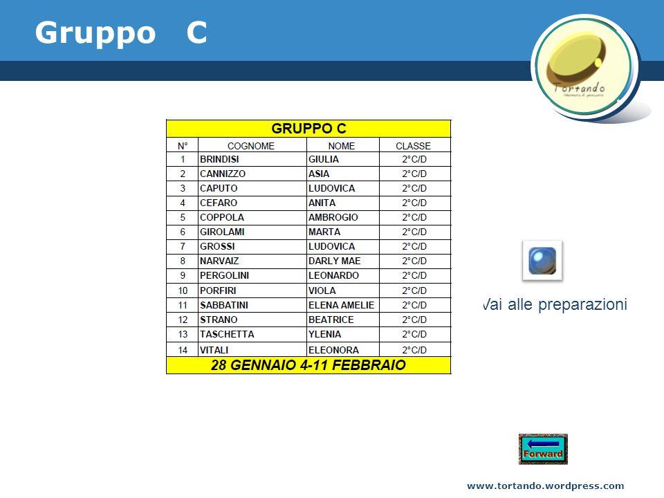 Gruppo C www.tortando.wordpress.com Vai alle preparazioni