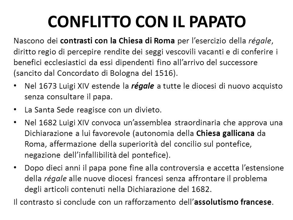 CONFLITTO CON IL PAPATO Nascono dei contrasti con la Chiesa di Roma per l'esercizio della régale, diritto regio di percepire rendite dei seggi vescovi