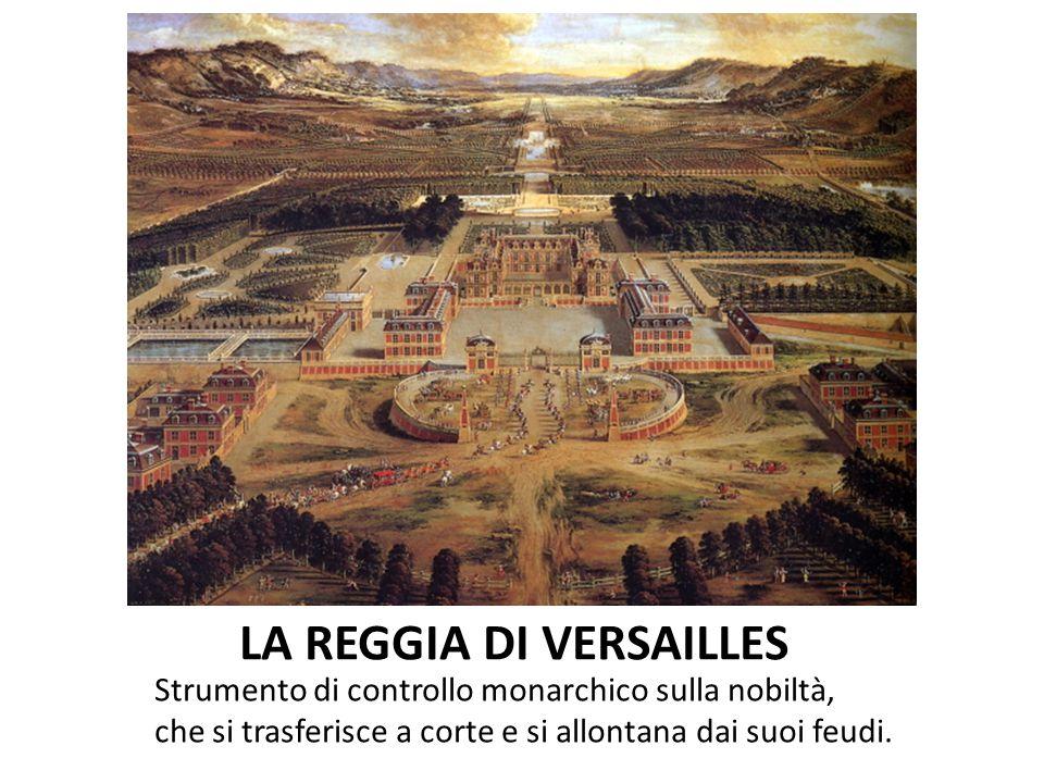 LA REGGIA DI VERSAILLES Strumento di controllo monarchico sulla nobiltà, che si trasferisce a corte e si allontana dai suoi feudi.
