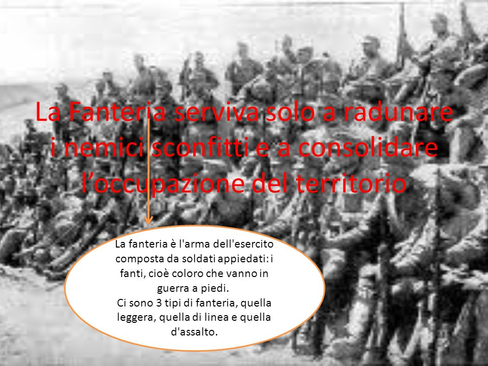 La Fanteria serviva solo a radunare i nemici sconfitti e a consolidare l'occupazione del territorio La fanteria è l'arma dell'esercito composta da sol