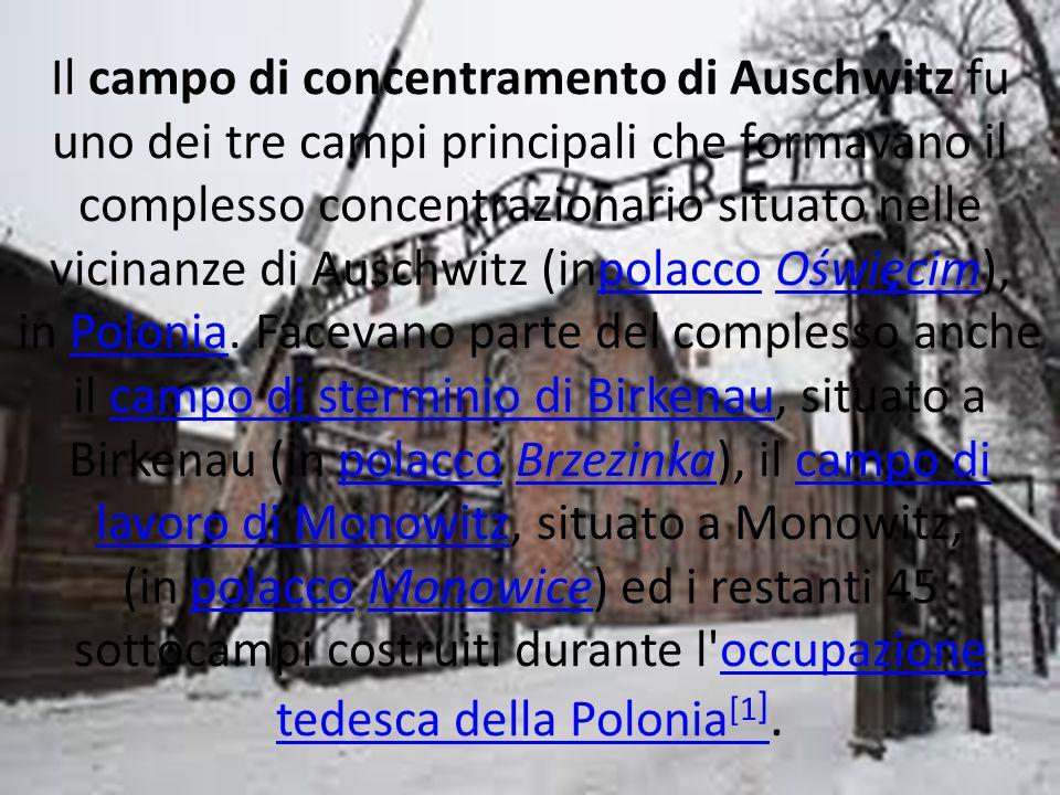 Il campo di concentramento di Auschwitz fu uno dei tre campi principali che formavano il complesso concentrazionario situato nelle vicinanze di Auschw