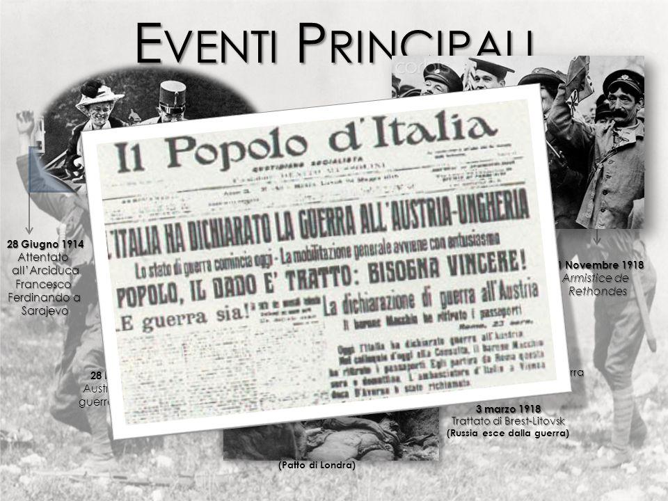 E VENTI P RINCIPALI 28 Giugno 1914 Attentatoall'ArciducaFrancesco Ferdinando a Sarajevo 25 Novembre 1915 Italia entra in guerra accanto accanto alla T