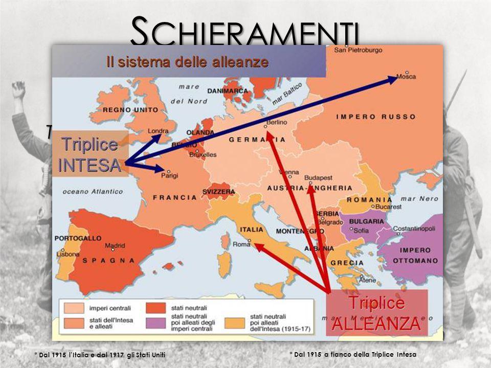 S CHIERAMENTI Triplice Alleanza Triplice Intesa Inghilterra Inghilterra Francia Francia Russia Russia * Dal 1915 l'Italia e dal 1917 gli Stati Uniti Austria Austria Germania Germania Regno d'Italia (poi dichiaro neutralita) Regno d'Italia (poi dichiaro neutralita) * Dal 1915 a fianco della Triplice Intesa