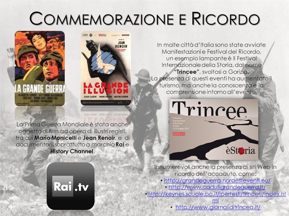 In molte città d'Italia sono state avviate Manifestazioni e Festival del Ricordo, un esempio lampante è Il Festival Internazionale della Storia, dal nome Trincee , svoltosi a Gorizia.