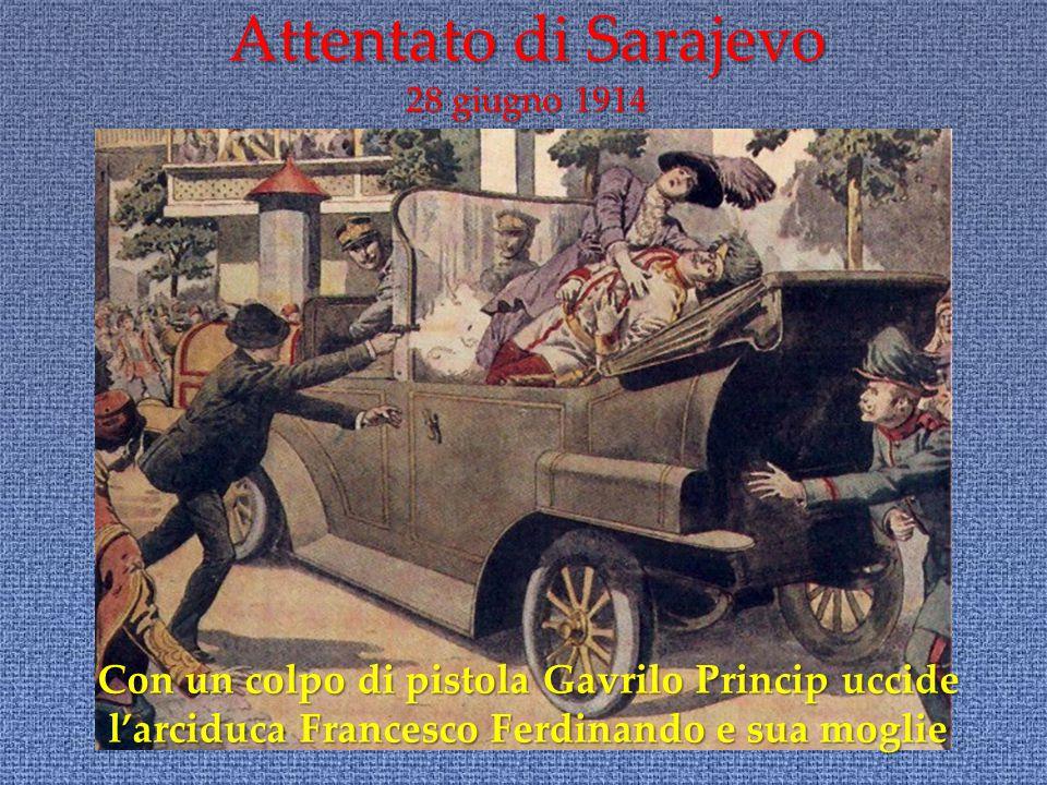 Con un colpo di pistola Gavrilo Princip uccide l'arciduca Francesco Ferdinando e sua moglie