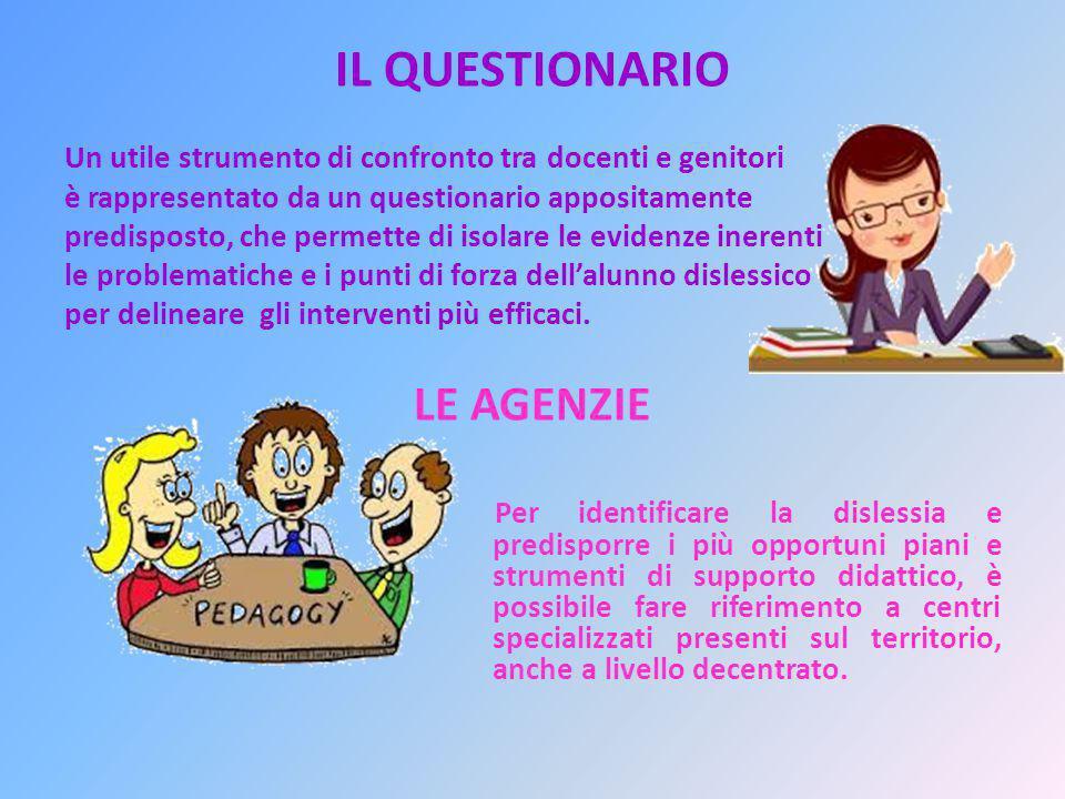 IL QUESTIONARIO Un utile strumento di confronto tra docenti e genitori è rappresentato da un questionario appositamente predisposto, che permette di i