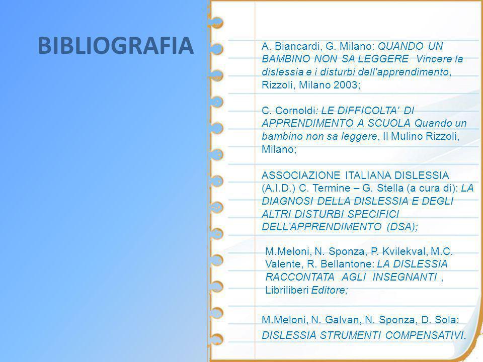 BIBLIOGRAFIA A. Biancardi, G. Milano: QUANDO UN BAMBINO NON SA LEGGERE Vincere la dislessia e i disturbi dell'apprendimento, Rizzoli, Milano 2003; C.