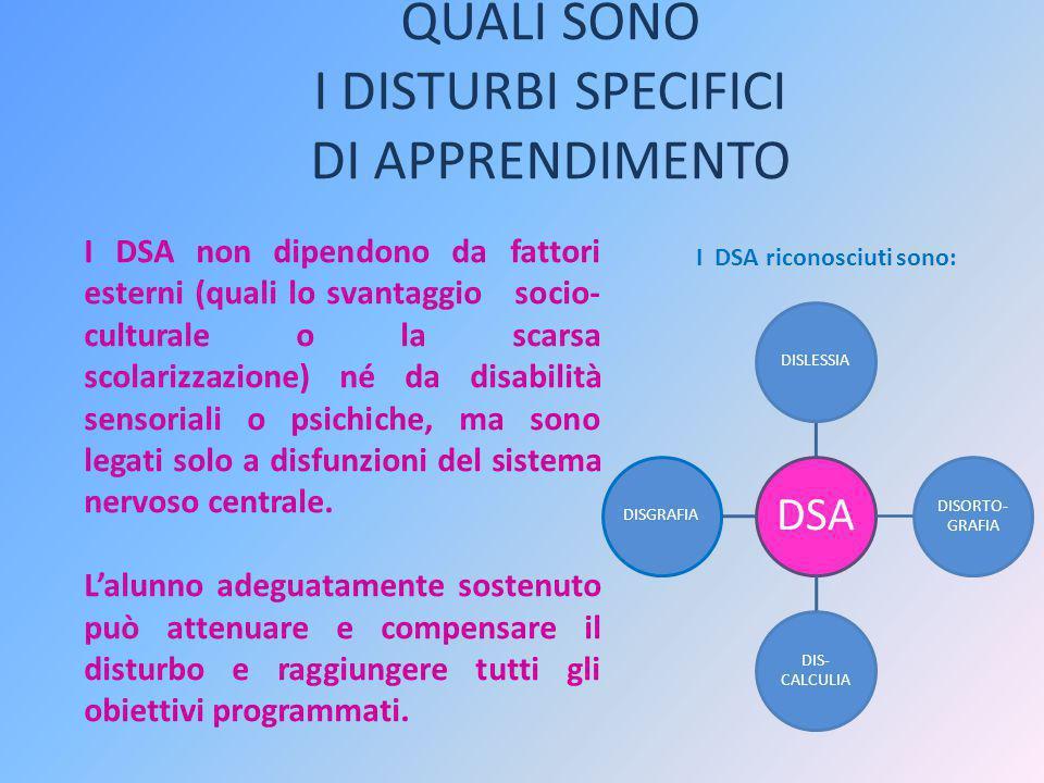 QUALI SONO I DISTURBI SPECIFICI DI APPRENDIMENTO I DSA riconosciuti sono: DSA DISLESSIA DISORTO- GRAFIA DIS- CALCULIA DISGRAFIA I DSA non dipendono da