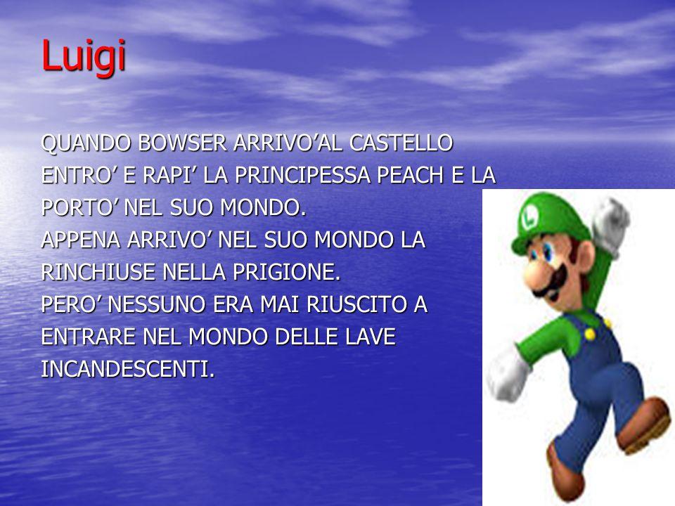 Luigi QUANDO BOWSER ARRIVO'AL CASTELLO ENTRO' E RAPI' LA PRINCIPESSA PEACH E LA PORTO' NEL SUO MONDO. APPENA ARRIVO' NEL SUO MONDO LA RINCHIUSE NELLA