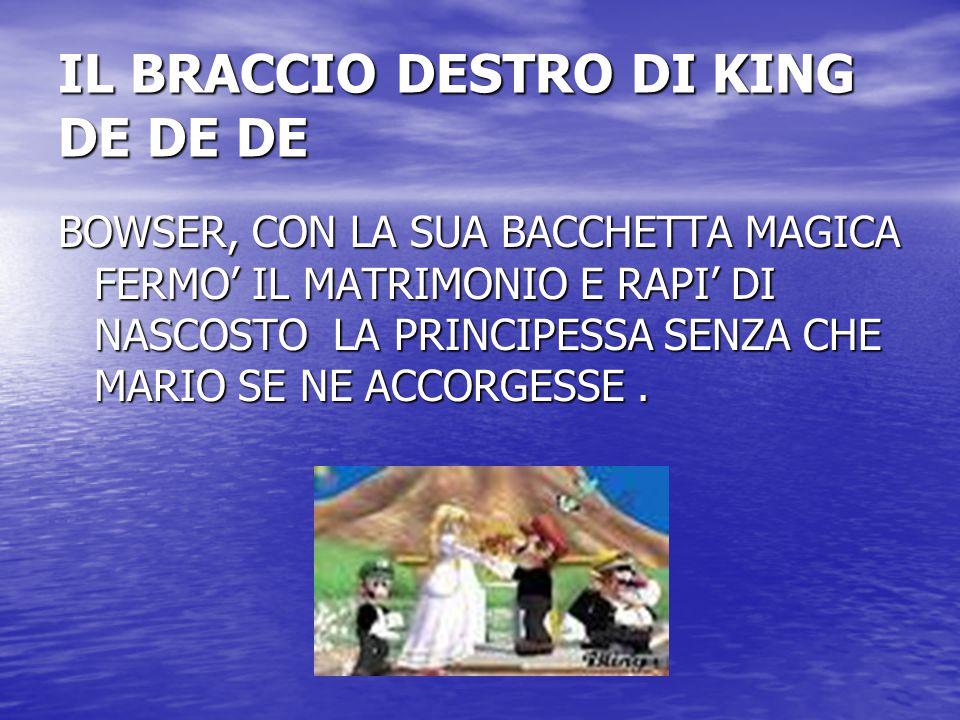 IL BRACCIO DESTRO DI KING DE DE DE BOWSER, CON LA SUA BACCHETTA MAGICA FERMO' IL MATRIMONIO E RAPI' DI NASCOSTO LA PRINCIPESSA SENZA CHE MARIO SE NE A