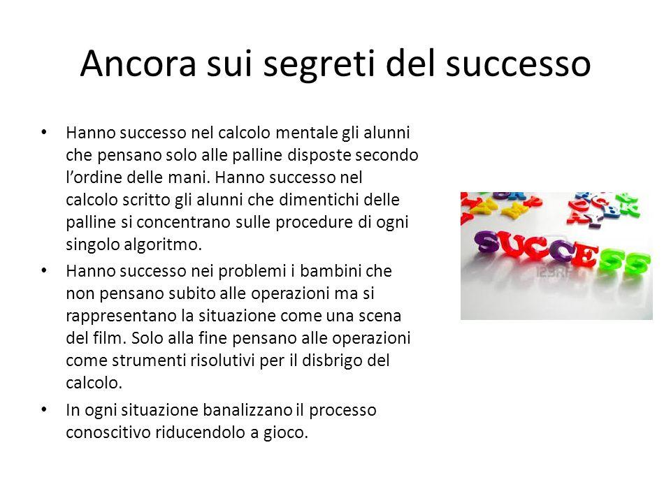 Ancora sui segreti del successo Hanno successo nel calcolo mentale gli alunni che pensano solo alle palline disposte secondo l'ordine delle mani. Hann