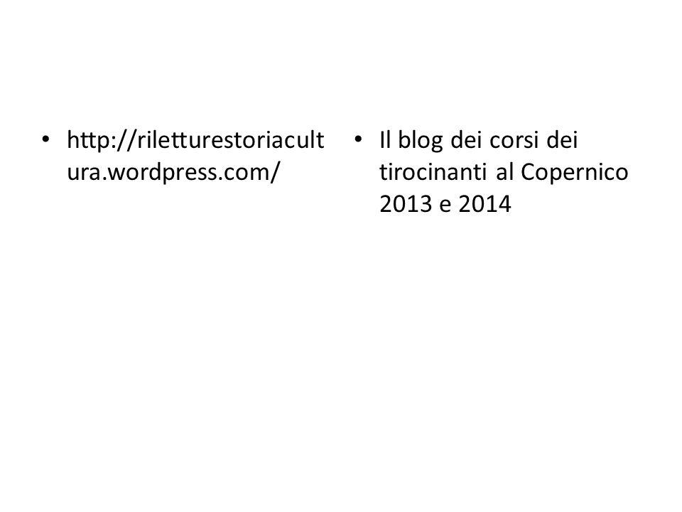 http://riletturestoriacult ura.wordpress.com/ Il blog dei corsi dei tirocinanti al Copernico 2013 e 2014