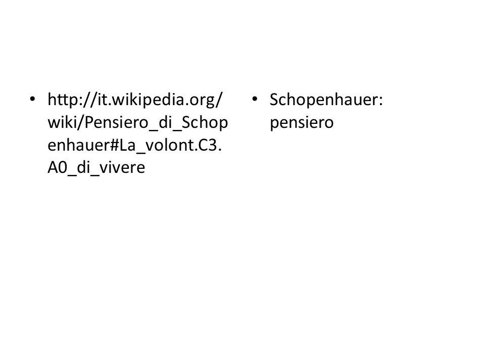 http://it.wikipedia.org/ wiki/Pensiero_di_Schop enhauer#La_volont.C3. A0_di_vivere Schopenhauer: pensiero