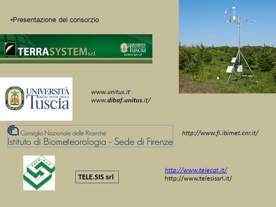 Presentazione del consorzio TELE.SIS srl http://www.telecgt.it/ http://www.telesissrl.it/ http://www.fi.ibimet.cnr.it/ www.unitus.it www.dibaf.unitus.