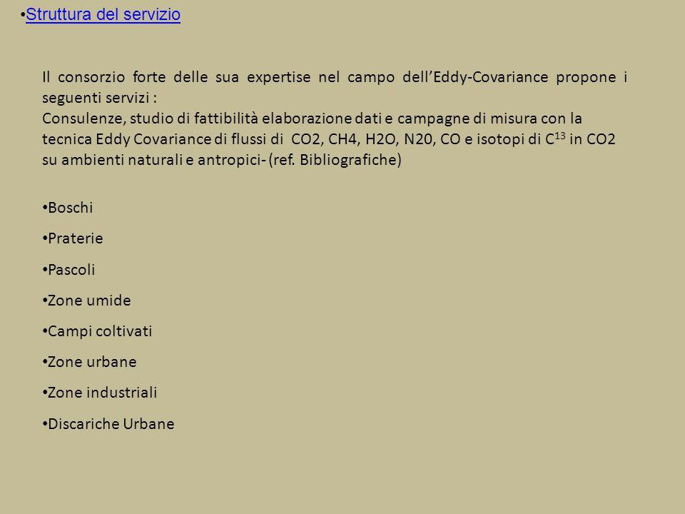 Come funziona strumenti a disposizione Il consorzio mette a dispozione una stazione Eddy Covariance completa di: Analizzatore licor 7500 per i flussi di CO2 e H20 http://www.licor.com/env/products/gas_analysis/LI-7500A/ http://www.licor.com/env/products/gas_analysis/LI-7500A/ Analizzatore Licor 7700 per i flussi di CO2 e CH4 http://www.licor.com/env/products/gas_analysis/LI-7700/ e relativa stazione micro-metereologica secondo le specifiche ICOS http://www.icos-infrastructure.eu/ http://www.icos-infrastructure.eu/ Analizzatore Los Gatos N2O/CO http://www.lgrinc.com/analyzers/overview.php?prodid=20&type=gas http://www.lgrinc.com/analyzers/overview.php?prodid=20&type=gas Analizzatore Los Gatos Carbon Dioxide Isotope Analyzer http://www.lgrinc.com/analyzers/overview.php?prodid=14&type=isotope Il sistema EC e la stazione micro-metereologica sono completi di sistema di acquisizione, controllabili in remoto e autonomi dal punto di vista energetico; gli analizzatori Los gatos necessitano di alimentazione a 220 v ac