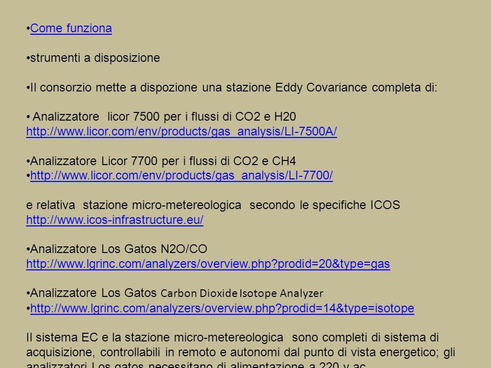 Come funziona strumenti a disposizione Il consorzio mette a dispozione una stazione Eddy Covariance completa di: Analizzatore licor 7500 per i flussi