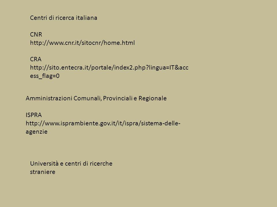 Centri di ricerca italiana CNR http://www.cnr.it/sitocnr/home.html CRA http://sito.entecra.it/portale/index2.php?lingua=IT&acc ess_flag=0 Amministrazi