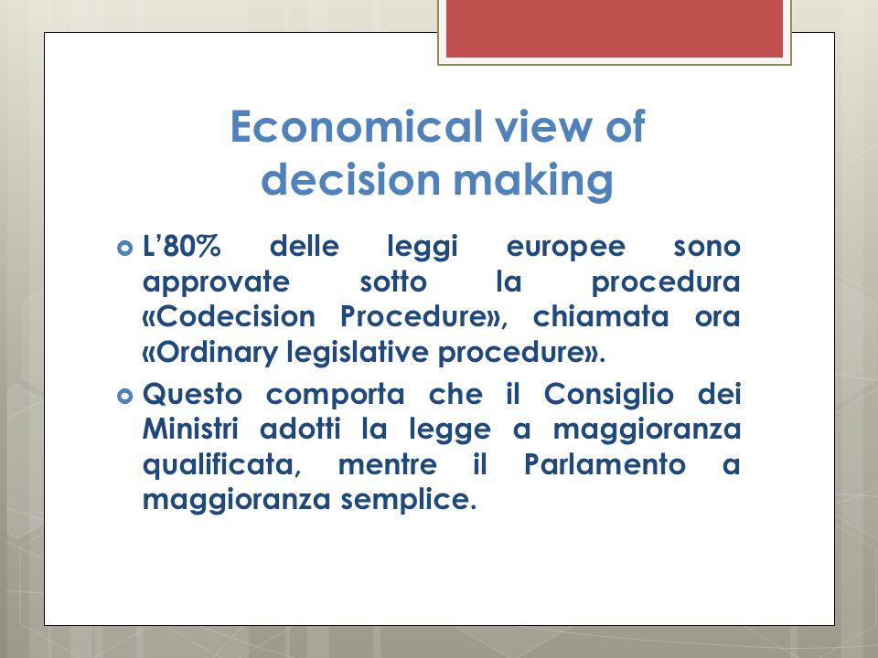 Economical view of decision making  L'80% delle leggi europee sono approvate sotto la procedura «Codecision Procedure», chiamata ora «Ordinary legisl
