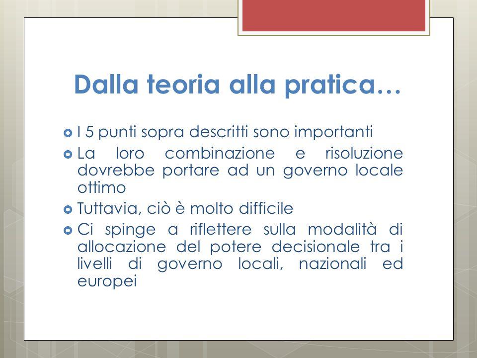 Dalla teoria alla pratica…  I 5 punti sopra descritti sono importanti  La loro combinazione e risoluzione dovrebbe portare ad un governo locale otti