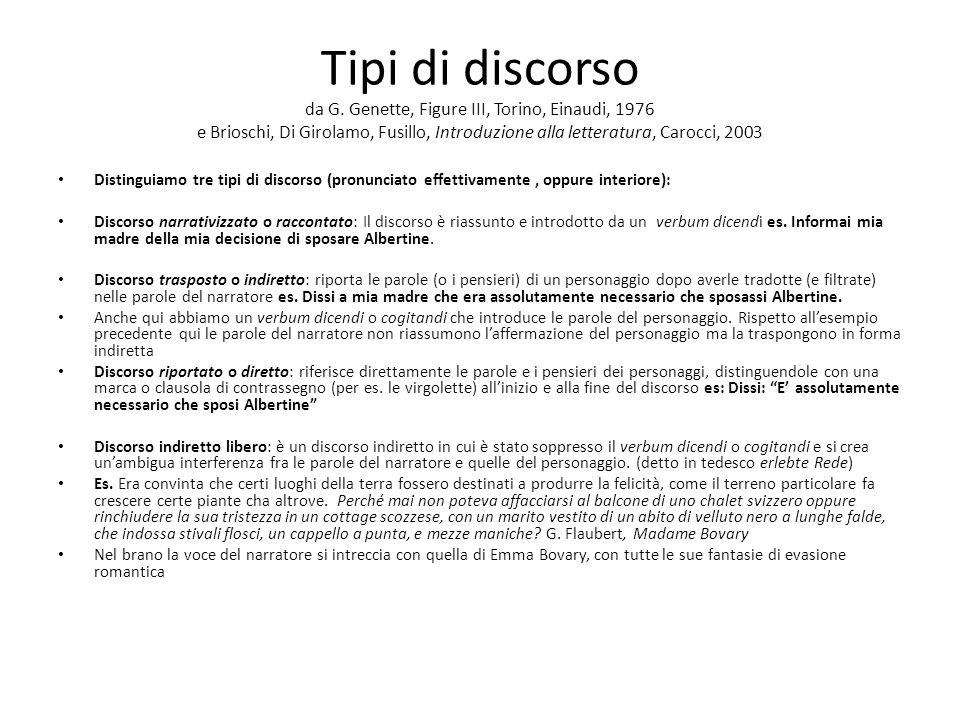 Tipi di discorso da G. Genette, Figure III, Torino, Einaudi, 1976 e Brioschi, Di Girolamo, Fusillo, Introduzione alla letteratura, Carocci, 2003 Disti