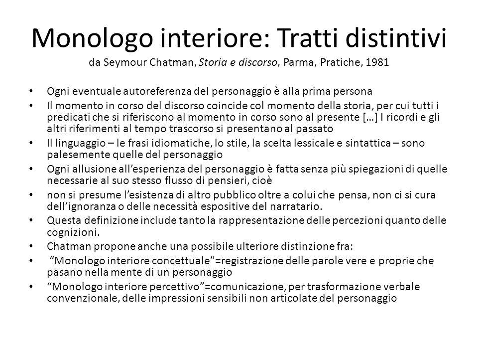 Monologo interiore: Tratti distintivi da Seymour Chatman, Storia e discorso, Parma, Pratiche, 1981 Ogni eventuale autoreferenza del personaggio è alla