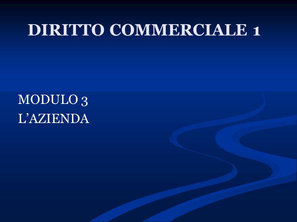 DIRITTO COMMERCIALE 1 MODULO 3 L'AZIENDA