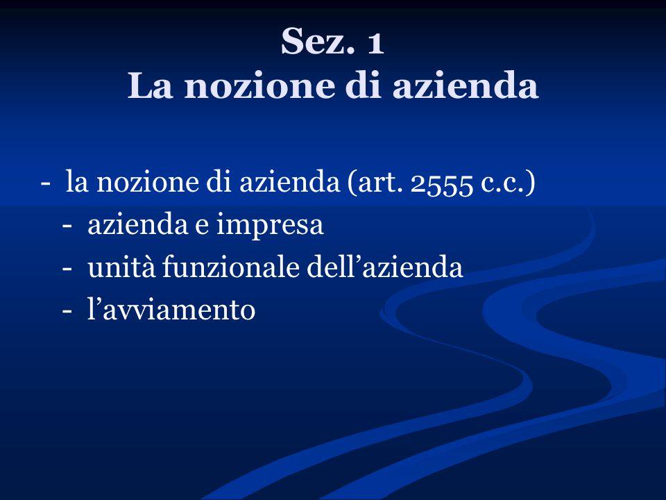Sez. 1 La nozione di azienda - la nozione di azienda (art. 2555 c.c.) - azienda e impresa - unità funzionale dell'azienda - l'avviamento