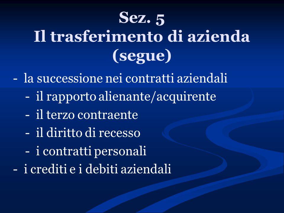 Sez. 5 Il trasferimento di azienda (segue) - la successione nei contratti aziendali - il rapporto alienante/acquirente - il terzo contraente - il diri