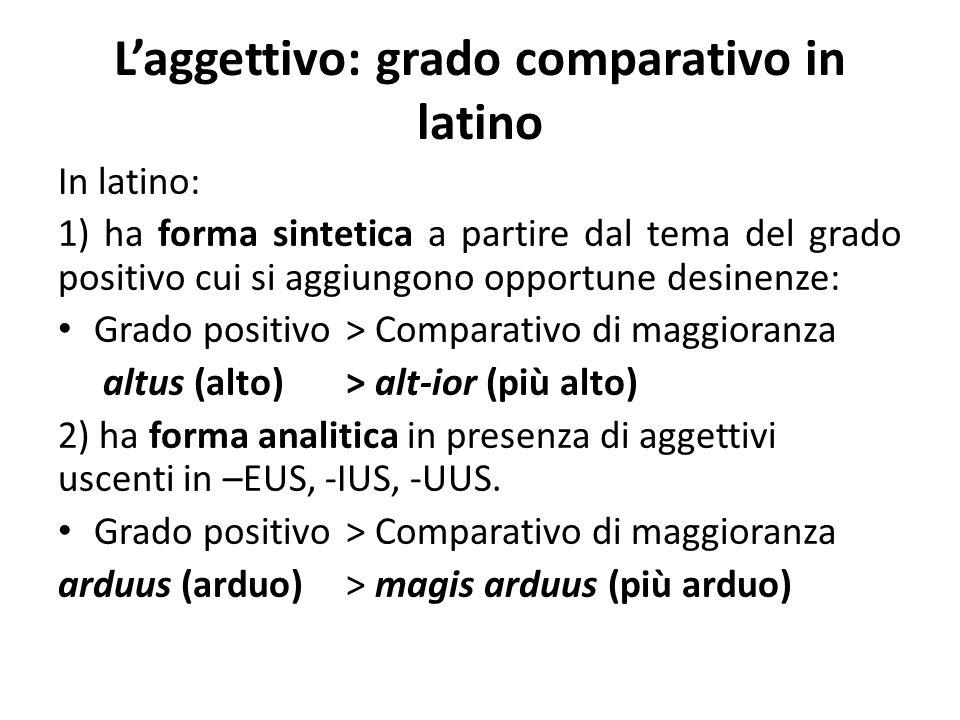 L'aggettivo: grado comparativo in latino In latino: 1) ha forma sintetica a partire dal tema del grado positivo cui si aggiungono opportune desinenze: