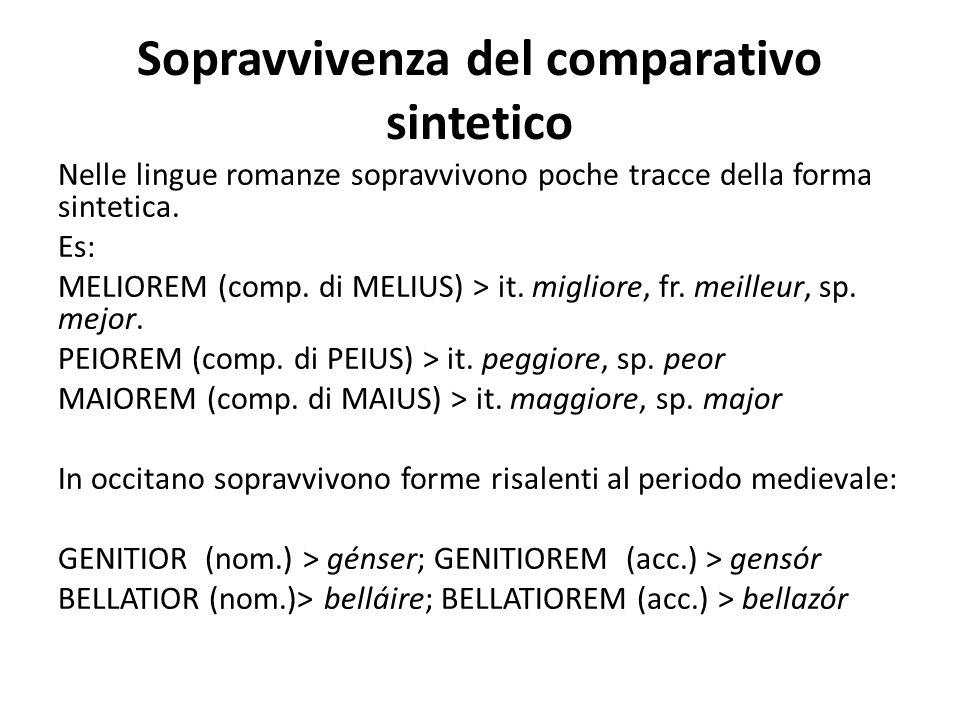 Sopravvivenza del comparativo sintetico Nelle lingue romanze sopravvivono poche tracce della forma sintetica. Es: MELIOREM (comp. di MELIUS) > it. mig