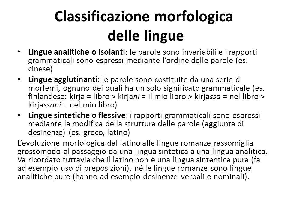 Classificazione morfologica delle lingue Lingue analitiche o isolanti: le parole sono invariabili e i rapporti grammaticali sono espressi mediante l'o