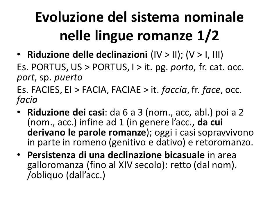 Evoluzione del sistema nominale nelle lingue romanze 1/2 Riduzione delle declinazioni (IV > II); (V > I, III) Es. PORTUS, US > PORTUS, I > it. pg. por