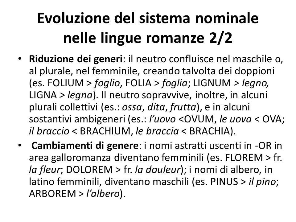 Evoluzione del sistema nominale nelle lingue romanze 2/2 Riduzione dei generi: il neutro confluisce nel maschile o, al plurale, nel femminile, creando