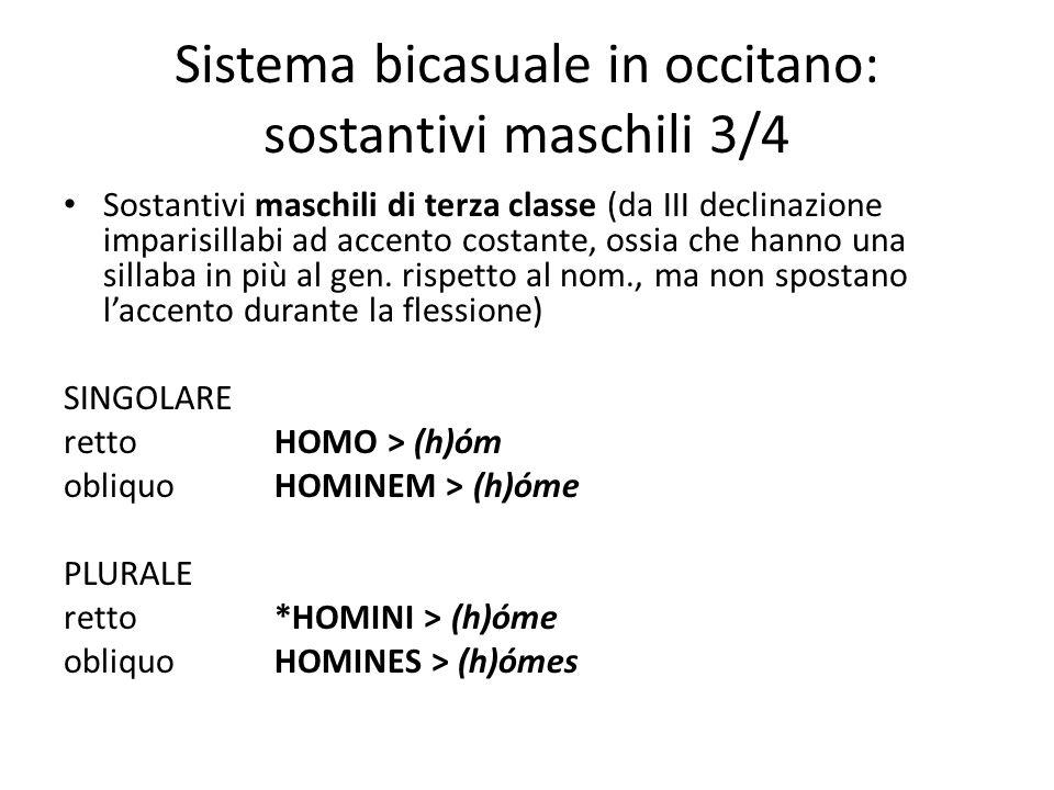 Sistema bicasuale in occitano: sostantivi maschili 3/4 Sostantivi maschili di terza classe (da III declinazione imparisillabi ad accento costante, oss