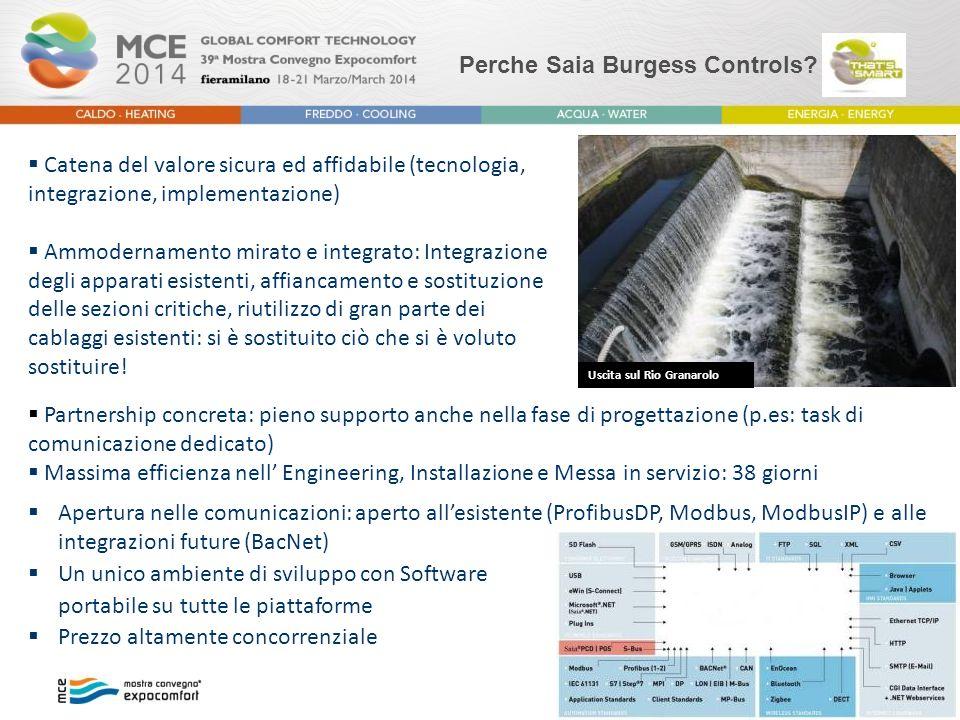 Perche Saia Burgess Controls?  Apertura nelle comunicazioni: aperto all'esistente (ProfibusDP, Modbus, ModbusIP) e alle integrazioni future (BacNet)