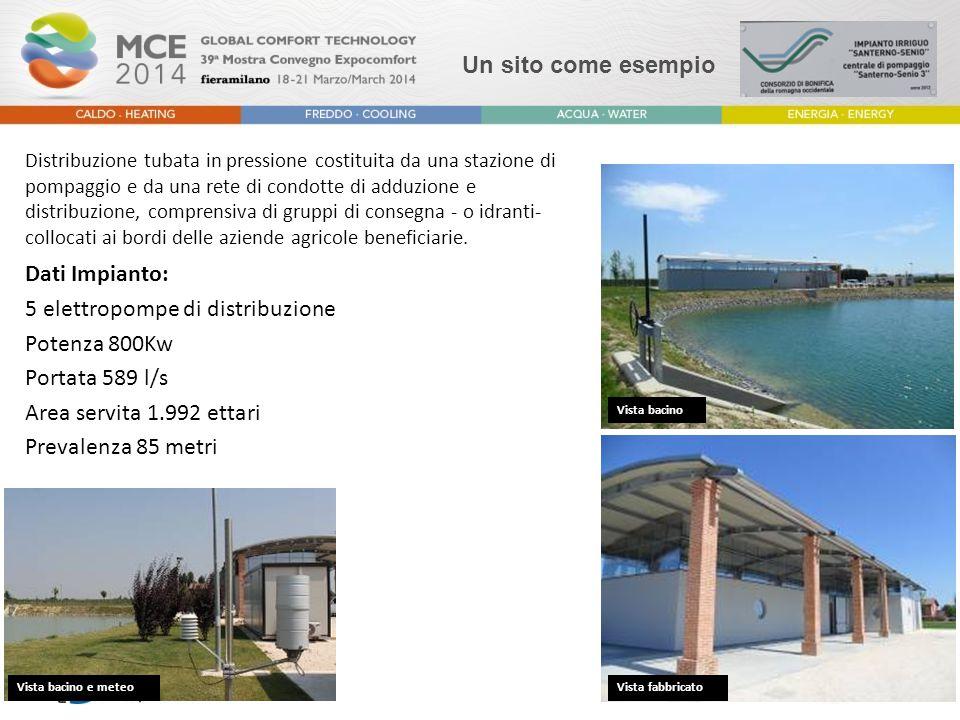 Un sito come esempio Dati Impianto: 5 elettropompe di distribuzione Potenza 800Kw Portata 589 l/s Area servita 1.992 ettari Prevalenza 85 metri Vista