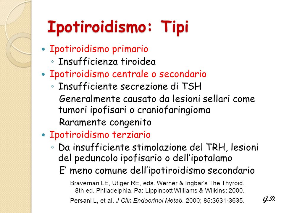 Ipotiroidismo: Tipi Ipotiroidismo primario ◦ Insufficienza tiroidea Ipotiroidismo centrale o secondario ◦ Insufficiente secrezione di TSH Generalmente causato da lesioni sellari come tumori ipofisari o craniofaringioma Raramente congenito Ipotiroidismo terziario ◦ Da insufficiente stimolazione del TRH, lesioni del peduncolo ipofisario o dell'ipotalamo E' meno comune dell'ipotiroidismo secondario Bravernan LE, Utiger RE, eds.