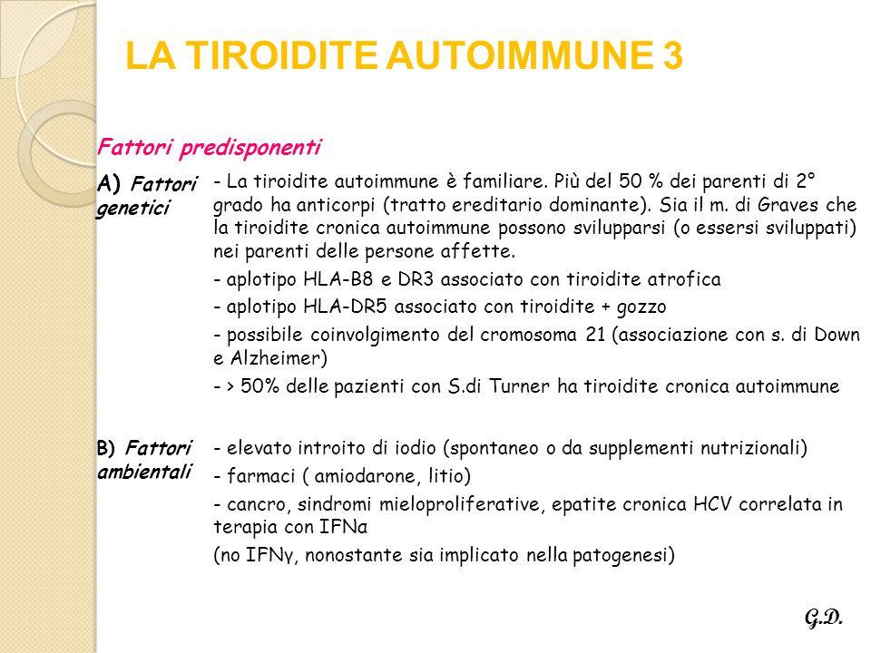 Fattori predisponenti A) Fattori genetici - La tiroidite autoimmune è familiare.